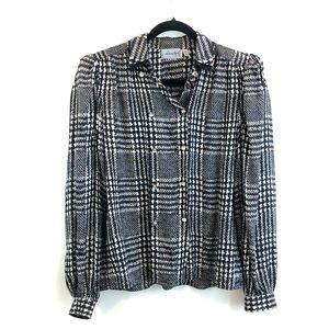Adrianna Papell Vintage Houndstooth Silk Blouse 6